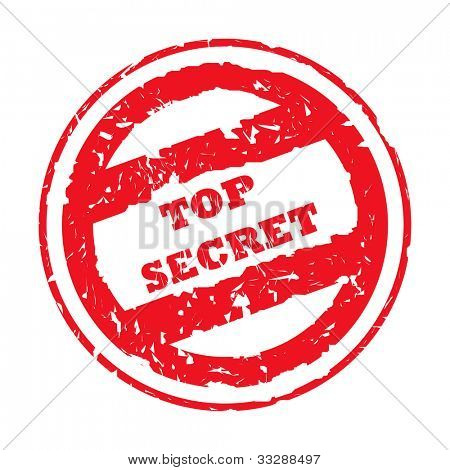 Used top secret stamp isolated on white background.