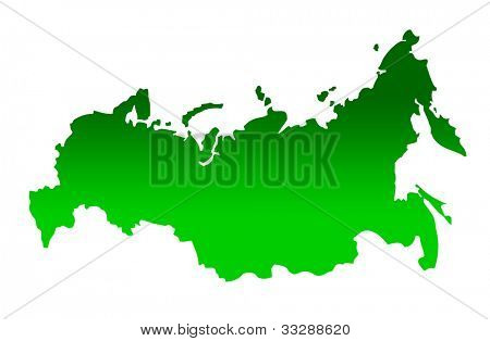 Map of Russian Federation isolated on a white background.