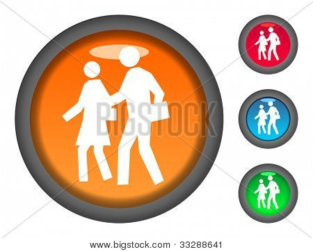 Set of colorful circular walking to school button icons, isolated on white background.