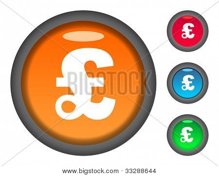Set of colorful circular English Pound Sterling currency button icons, isolated on white background.