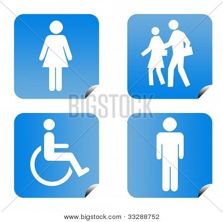 Blue gradient people silhouette buttons isolated on white background.