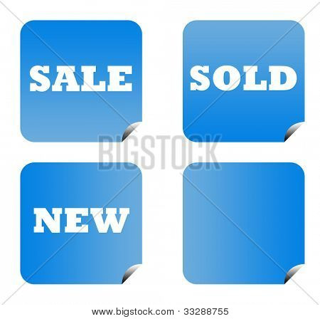 Blue gradient sale buttons with copy space isolated on white background.