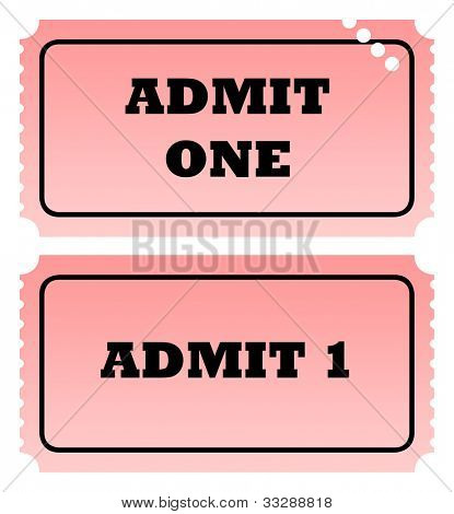 Two admit one tickets, one punched, isolated on white background with copy space.