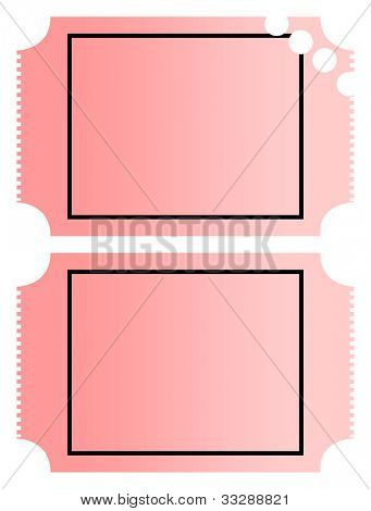 Blank gradient pink cinema or movie tickets with copy space, isolated on white background.
