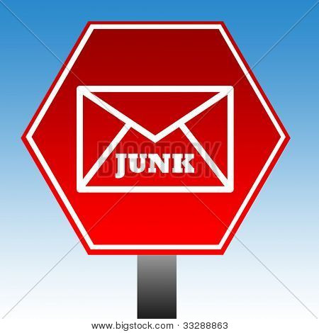 Red no junk mail sign with blue sky background.