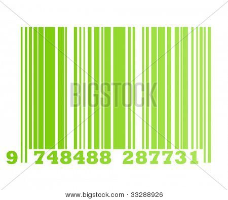 Eco gradient green retail bar code, isolated on white background.