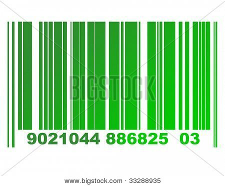 Environmental green gradient or eco bar code isolated on white background.