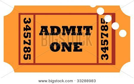 Used admit one entrance ticket isolated on white background.