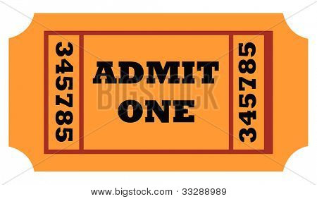 Admit one entrance ticket isolated on white background.
