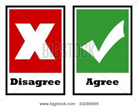 Agree and disagree voting boxes, isolated on white background.