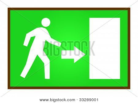 Man running on green exit sign, isolated on white background.