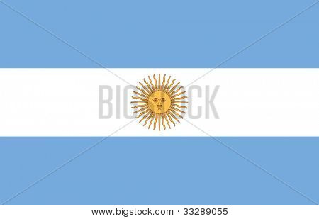Sovereign state flag of country of Argentina in official colors.
