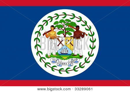 Sovereign state flag of country of Belize in official colors.