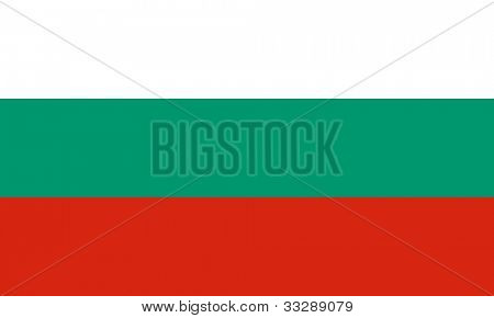 Sovereign state flag of country of Bulgaria in official colors.