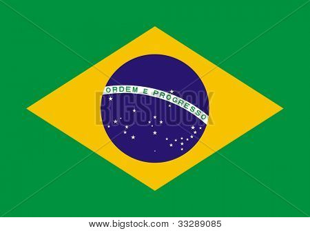 Sovereign state flag of country of Brazil in official colors.