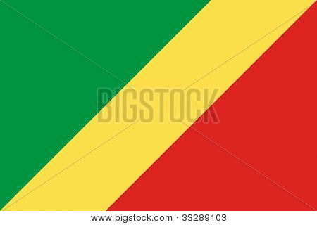Sovereign state flag of country of Republic of the Congo in official colors.