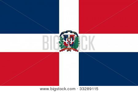 Sovereign state flag of country of Dominican Republic in official colors.