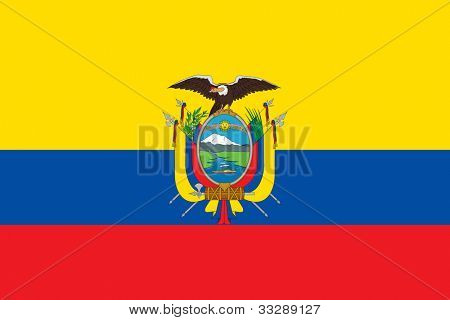Sovereign state flag of country of Ecuador in official colors.