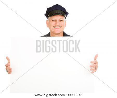 Police Officer Holding Sign