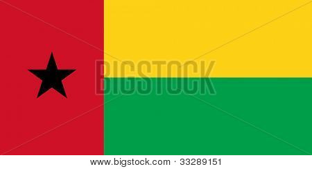 Sovereign state flag of country of Guinea-Bissau in official colors.