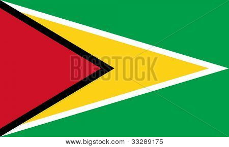 Sovereign state flag of country of Guyana in official colors.