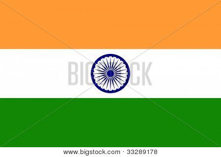 Sovereign state flag of country of India in official colors.