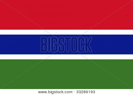Sovereign state flag of country of Gambia in official colors.