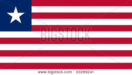 Sovereign state flag of country of Liberia in official colors.