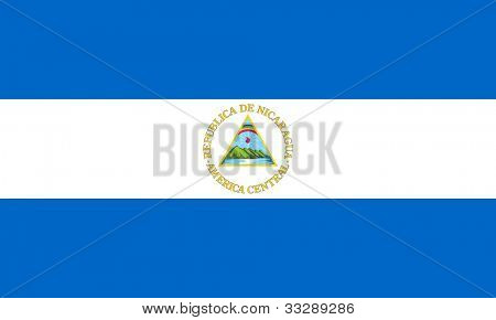 Sovereign state flag of country of Nicaragua in official colors.