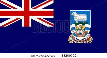 Sovereign state flag of dependent country of Falkland Islands in official colors.