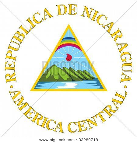 Nicaragua coat of arms, seal or national emblem, isolated on white background.