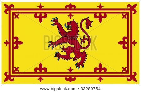 Royal Scottish standard or flag isolated on white background.