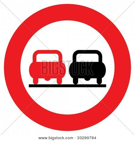 Circular no overtaking sign isolated on white background.