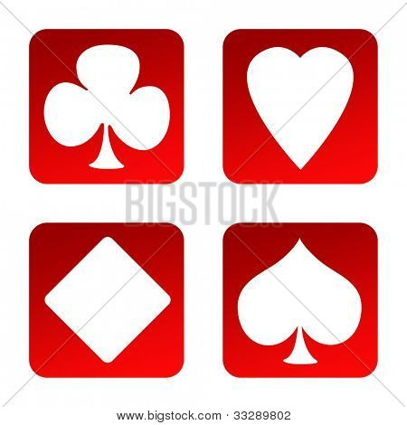 Set of four playing card suits gambling icons, isolated on white background.