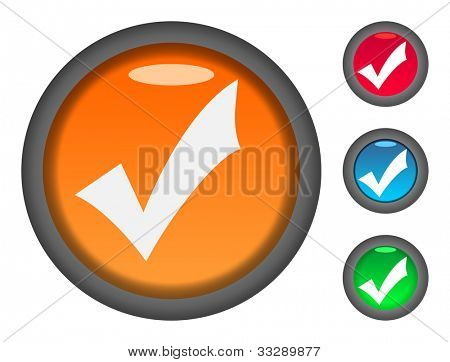 Set of colorful check or tick mark circular button icons, isolated on white background.