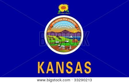 Kansas state flag of America, isolated on white background.