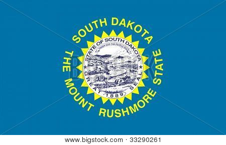 South Dakota Zustand-Markierungsfahne von Amerika, isolated on white Background.