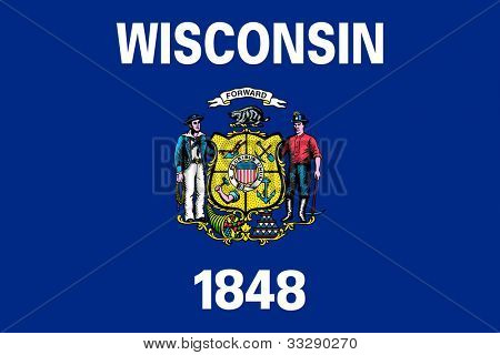 Wisconsin state flag of America, isolated on white background.
