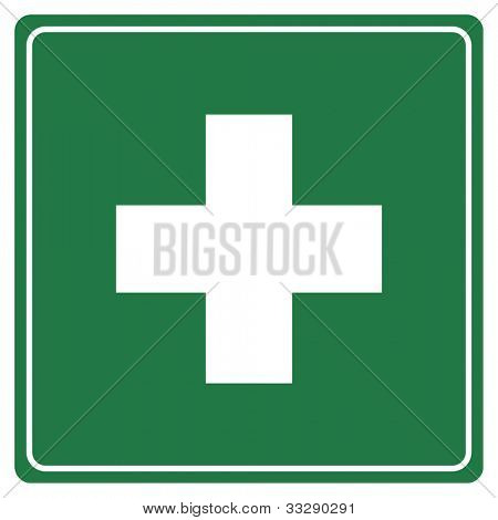 Green first aid sign isolated on white background.