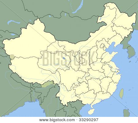 Map of China showing states with borders and major rivers.
