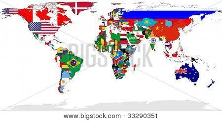 Mapa do mundo com bandeiras de países relevantes, isolado no fundo branco.