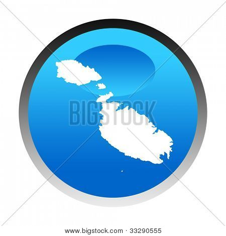 Malta map blue circular button isolated on white background.