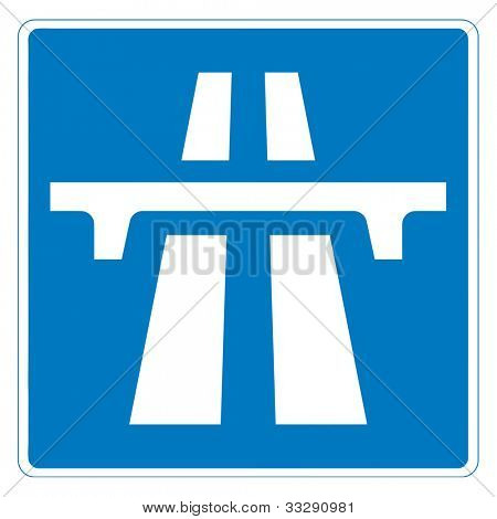 Motorway sign isolated on white background with copy space.