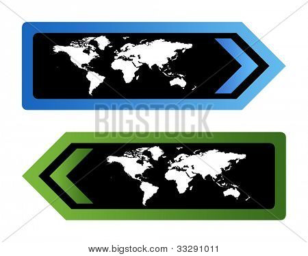 Two World travel signs with map isolated on white background.