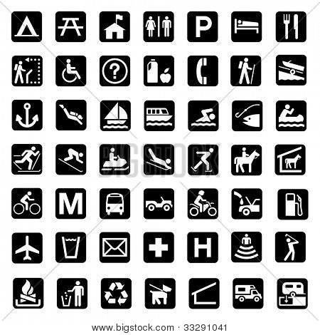 Illustrated set of signs associated with the countryside and national parks, white background.