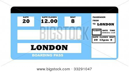 Illustration of London concept flight ticket, isolated on white background.