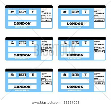 Illustration of London 2010 concept flight ticket, isolated on white background.