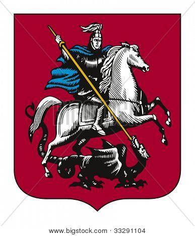 Illustration of Moscow city coat of arms, Russian Federation.