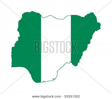 Illustration of the Nigeria flag on map of country; isolated on white background.