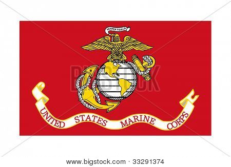 Flag of the United States Marine Corps; isolated on white background.